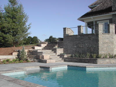 Stone staircase to pool