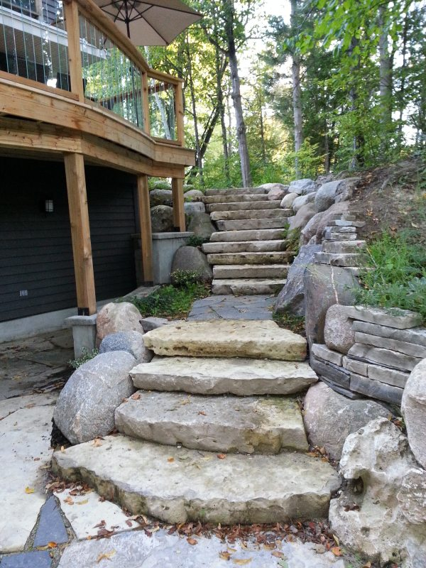 Natural Building Stone Steps : Retaining wall stone step installation collingwood