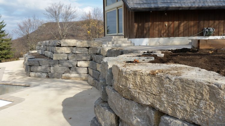 Retaining Wall Stone Step Installation Collingwood